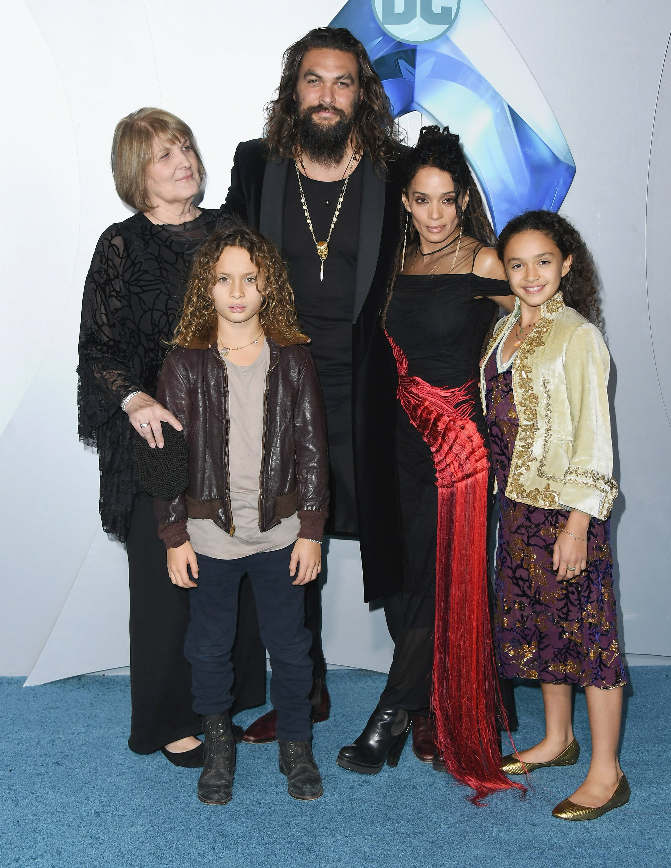 "Jason Momoa, his mother Coni Momoa, Lisa Bonet & their kids, Lola and Nakoa-Wolf at the premiere of ""Aquaman"" in Hollywood, California on Dec. 12, 2018. 