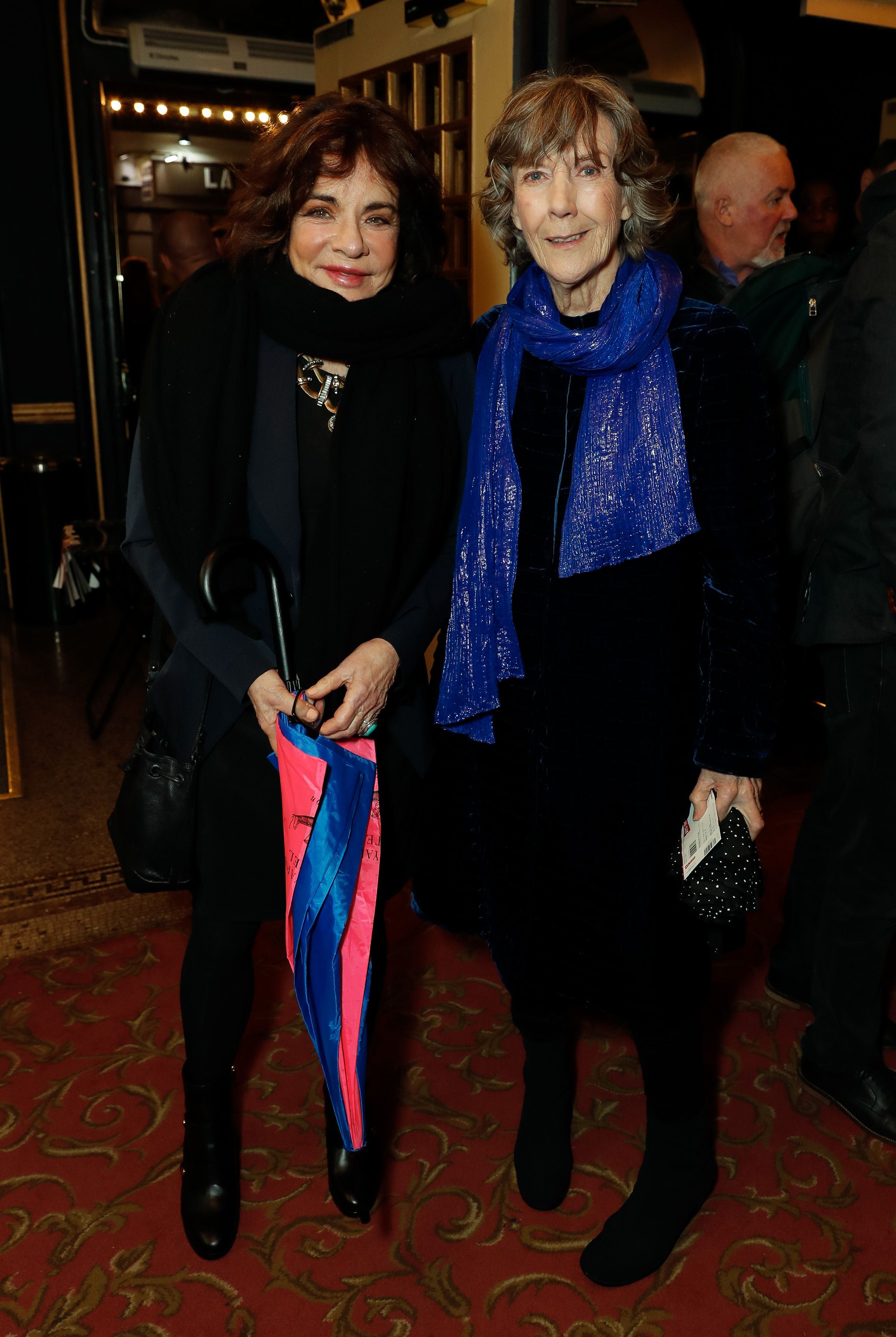 """Stockard Channing and Eileen Atkins attend the press night performance of """"Ian McKellen On Stage"""", a special one man show celebrating his 80th birthday, at Duke Of York's Theatre on March 7, 2019 in London, England. 