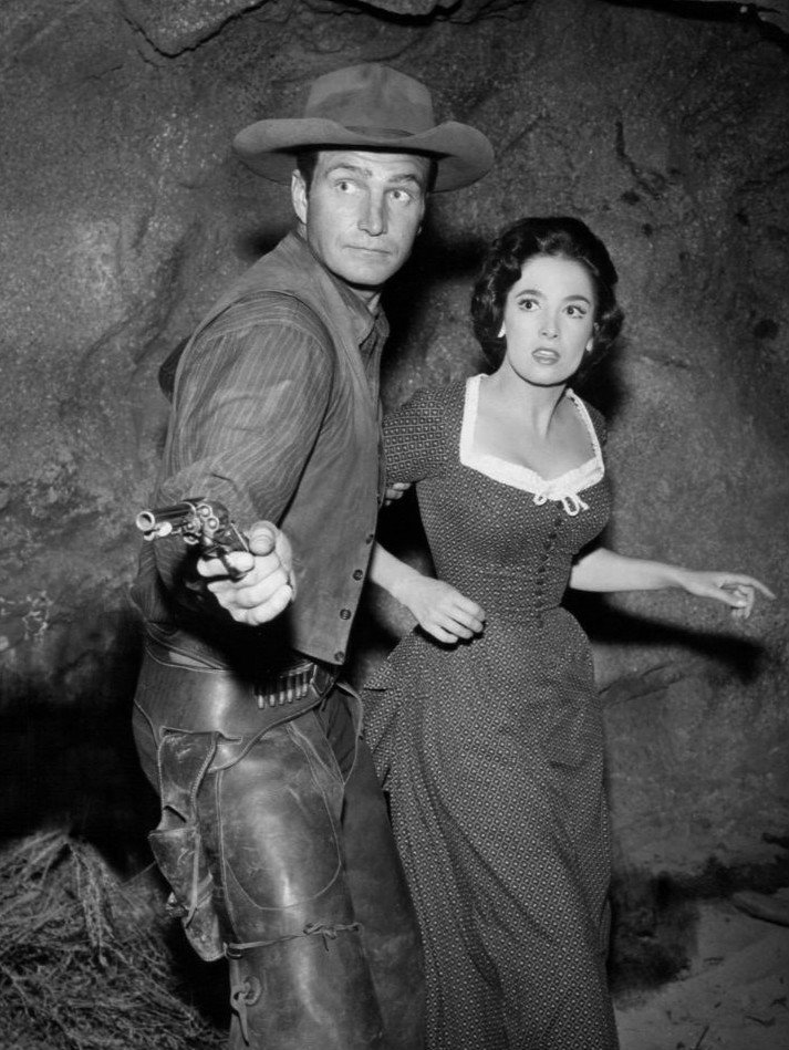 """Photo of Eric Fleming and Linda Cristal from the television program """"Rawhide,"""" circa 1950s. 