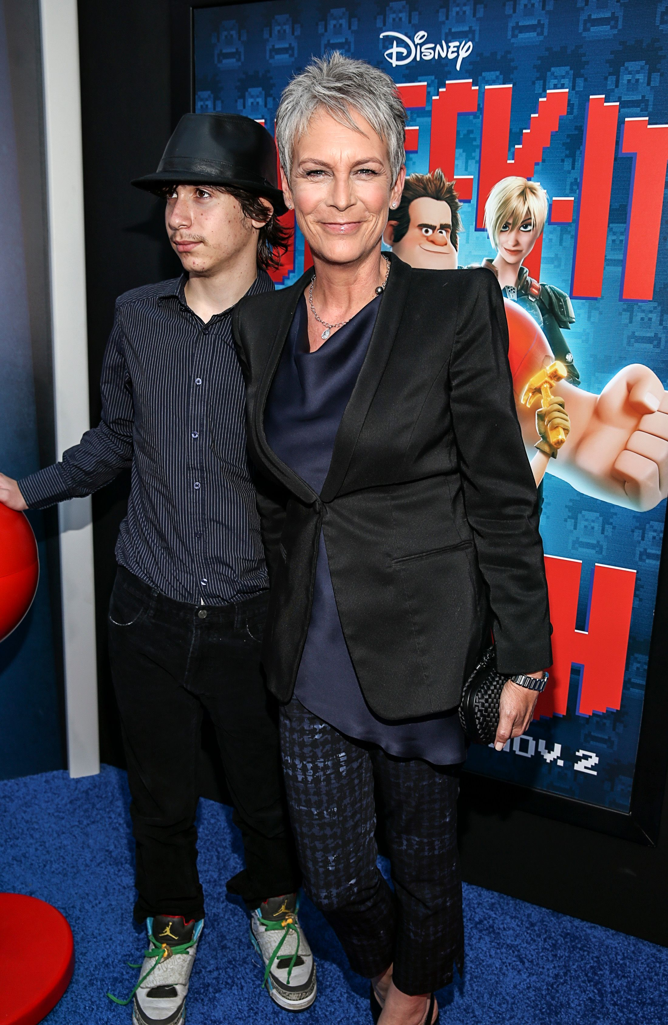 """Jamie Lee Curtis and Thomas Guest during the Premiere Of Walt Disney Animation Studios' """"Wreck-It Ralph"""" at the El Capitan Theatre on October 29, 2012   Photo: Getty Images"""