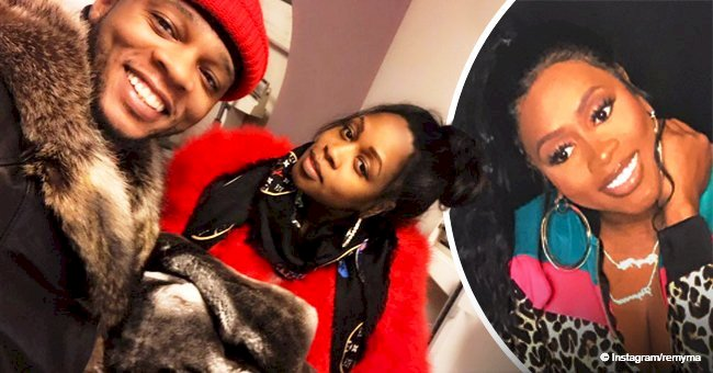 Remy Ma cuddles her newborn baby wrapped in fur blanket during doctor's appointment with Papoose