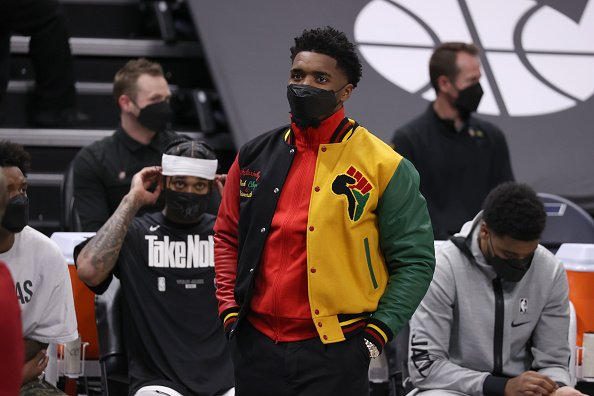 Donovan Mitchell on May 23, 2021 at vivint.SmartHome Arena in Salt Lake City, Utah.   Photo: Getty Images