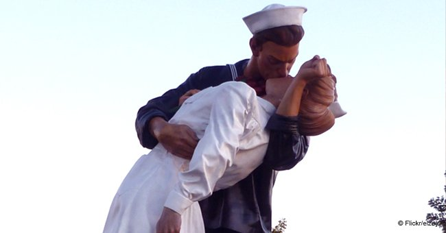 Statue of famous 'Kissing Sailor' who died a few days ago was vandalized with 'Me Too' graffiti