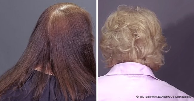 66-year-old woman tired of coloring her hair every 4 weeks gets a brand new color