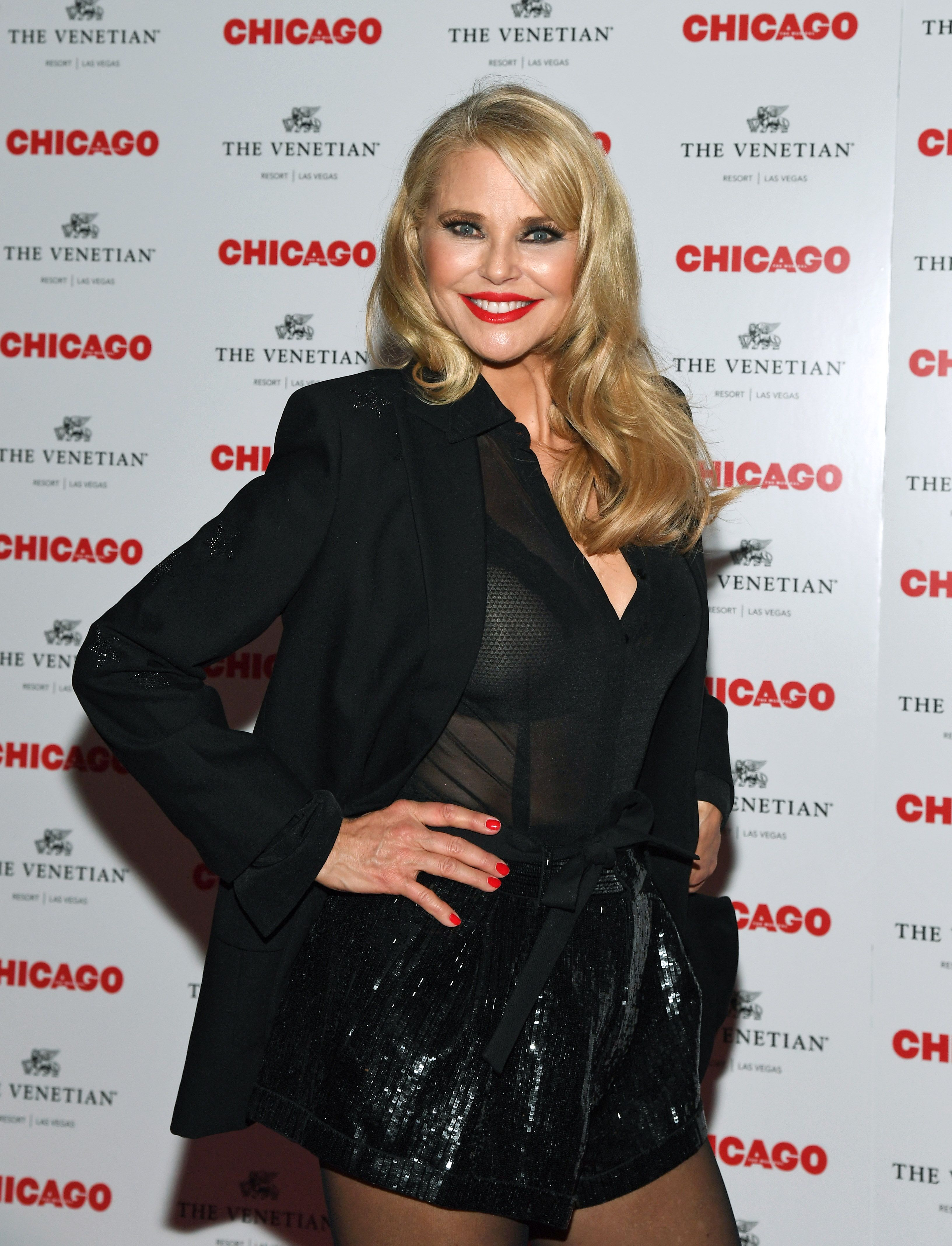 "Christie Brinkley attends a reception at Chica restaurant after the opening night of a limited engagement of the musical ""Chicago"" at The Venetian Las Vegas on April 10, 2019 in Las Vegas, Nevada. 