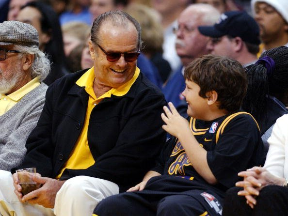 Jack Nicholson and son Raymond attend the game between the Los Angeles Lakers and the Seattle SuperSonics on February 23, 2003, at Staples Center in Los Angeles, California. | Source: Getty Images.