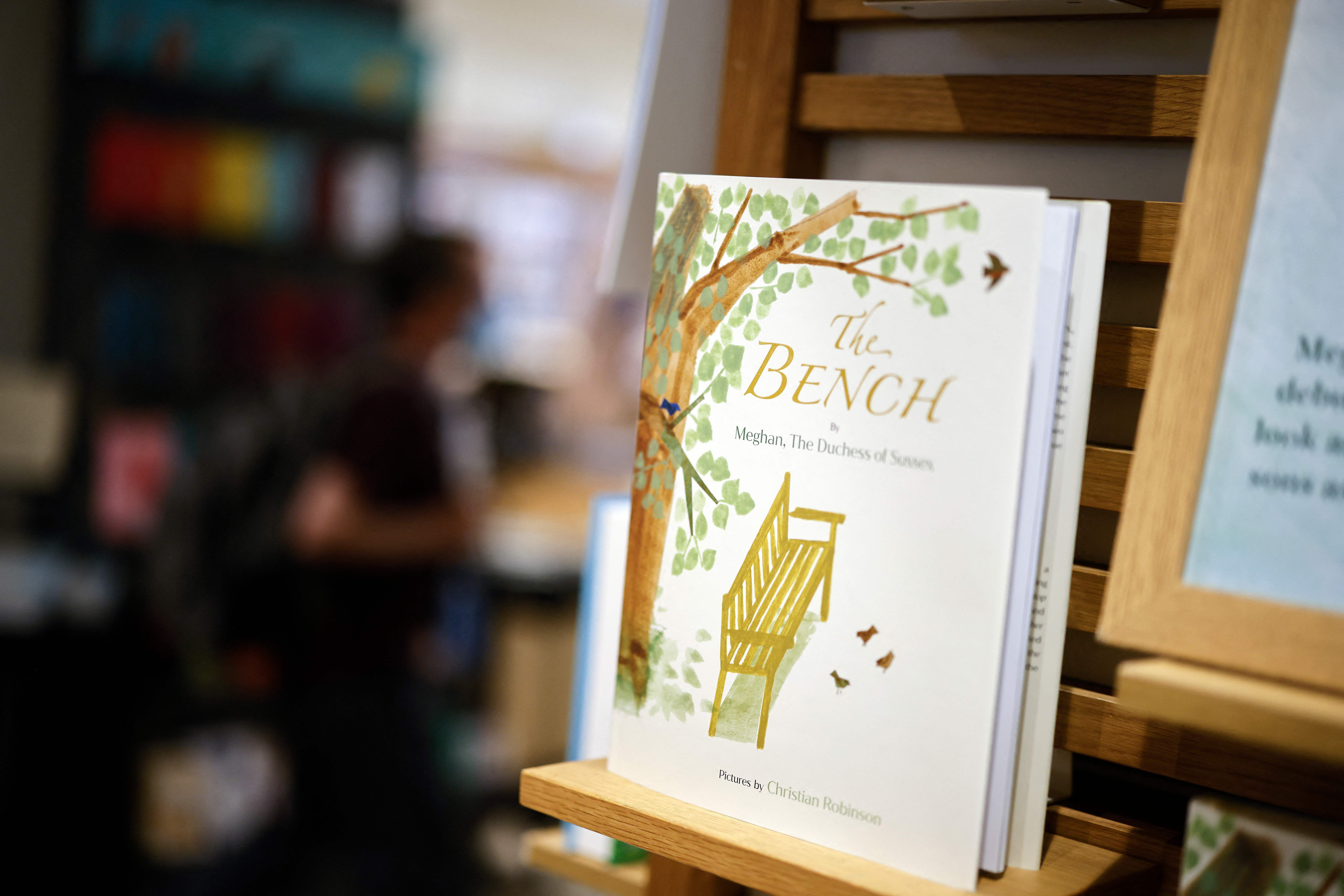 Children's book 'The Bench' by Meghan Markle on display in a bookshop in London on June 8, 2021, following its release   Photo: Getty Images