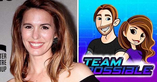 """Christy Carlson Romano at the """"Humans"""" Play Opening Night at the Ahmanson Theater on June 20, 2018 in Los Angeles, California and a """"Kim Possible"""" cover in the other   Photo: Shutterstock and Instagram/@thechristycarlsonromano"""