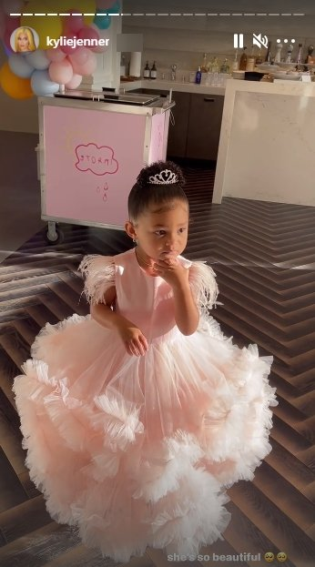 A picture of Kylie Jenner's daughter Stormi in a pink dress and a tiara on her birthday. | Photo: Instagram/Kyliejenner