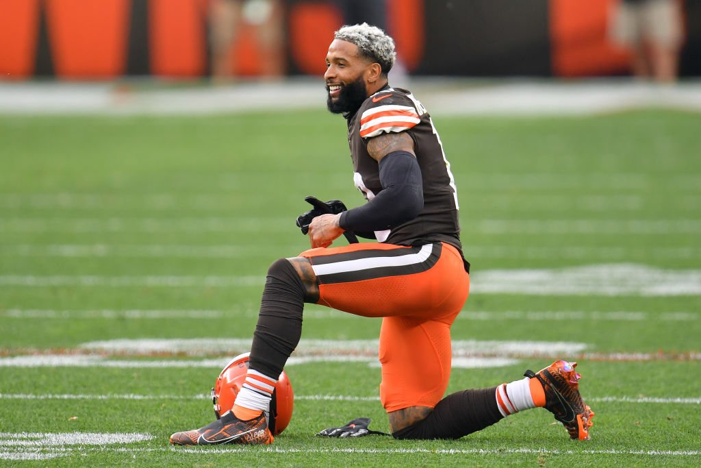 Odell Beckham Jr., #13 of the Cleveland Browns, pauses after making a reception during the second half against the Indianapolis Colts at FirstEnergy Stadium on October 11, 2020.   Photo: Getty Images