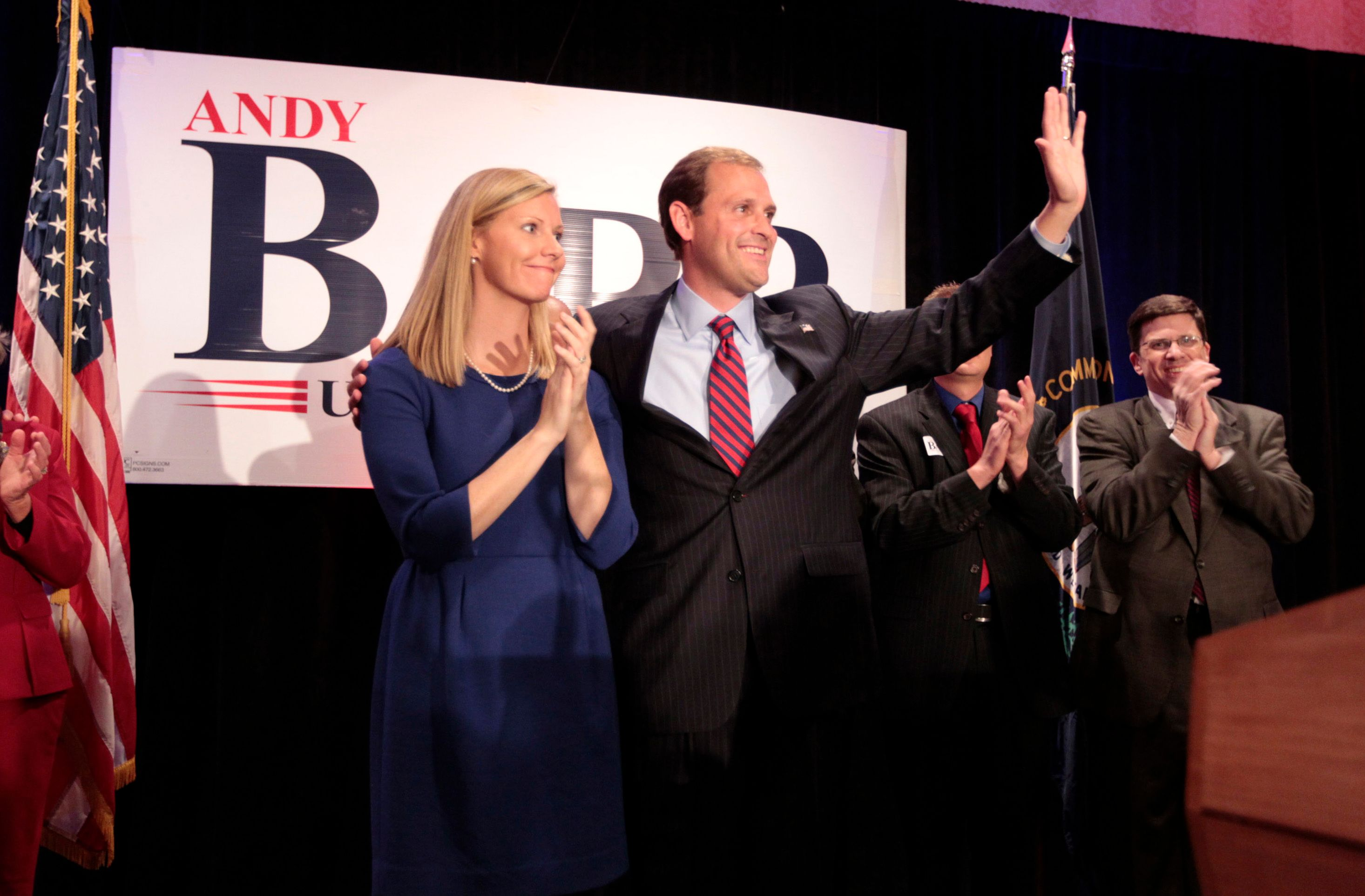 Election Day Republican Andy Barr, with wife Carol Barr  Photo: Getty Images