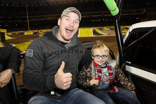 Chris Pratt and son Jack at Angel Stadium on February 24, 2018 in Anaheim, California. | Photo: Getty Images