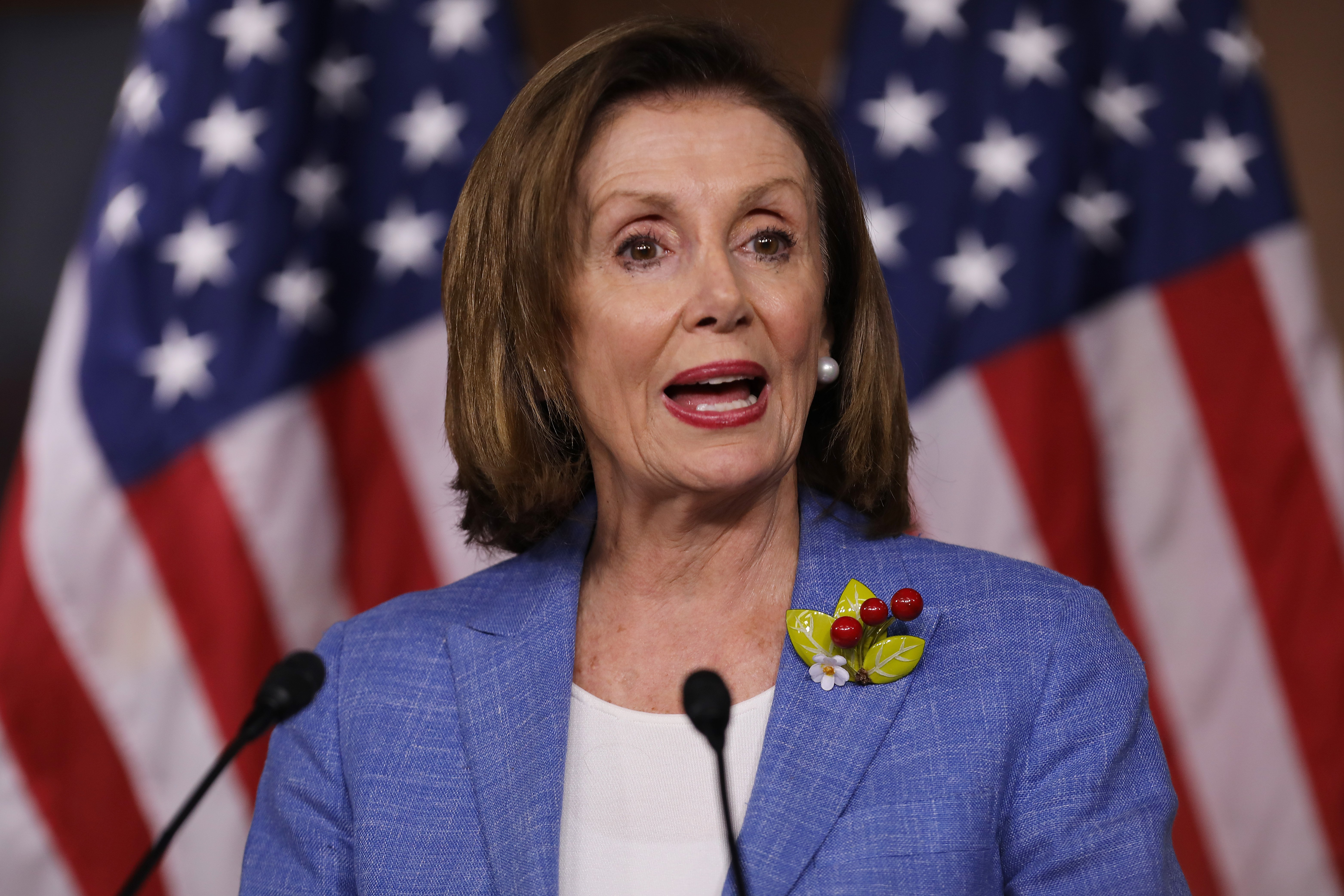 Nancy Pelosi holds her weekly press conference at the U.S. Capitol Visitors Center. | Source: Getty Images