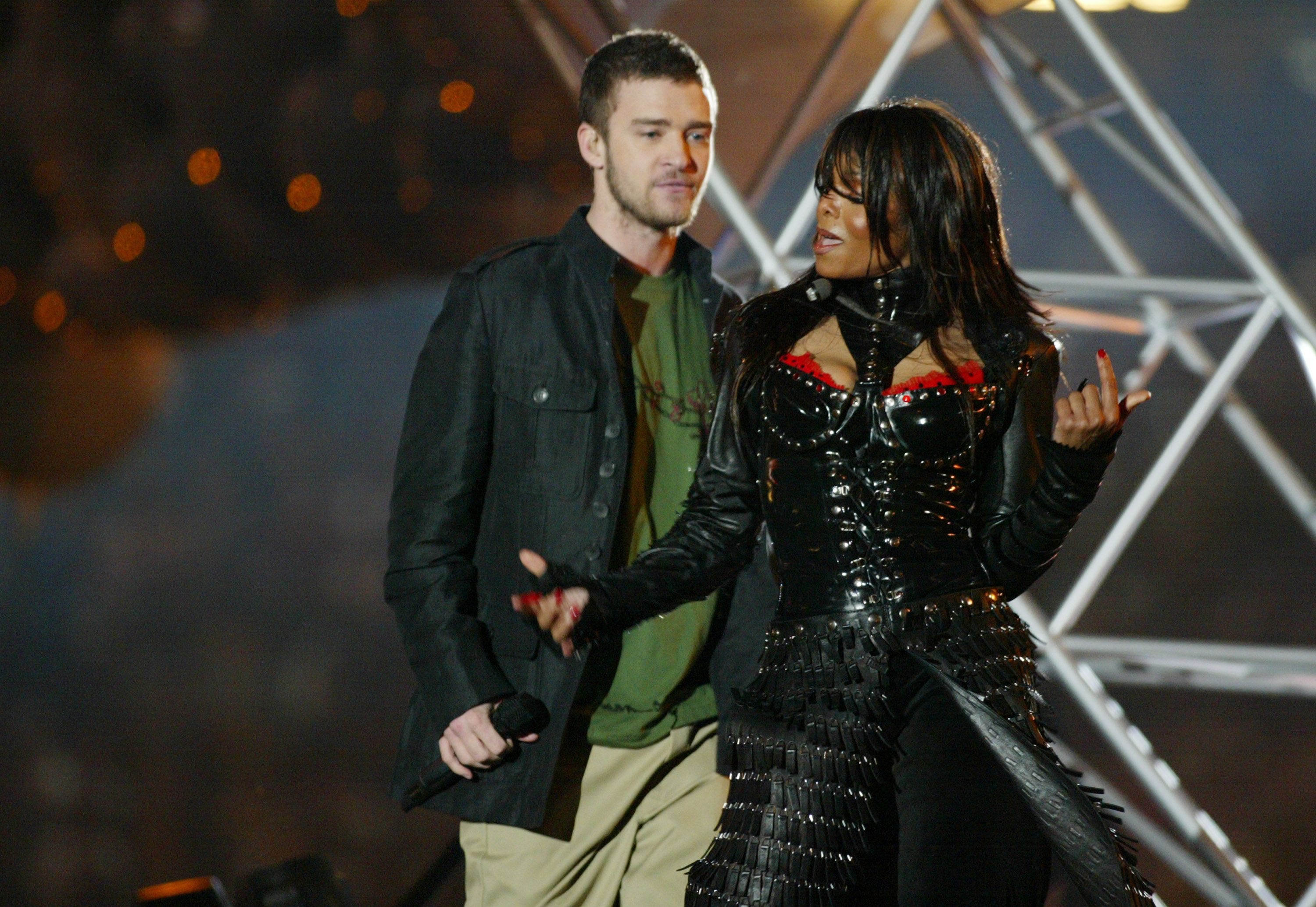 Justin Timberlake and Janet Jackson at the Super Bowl XXXVIII halftime show in Houston, Texas | Source: Getty Images