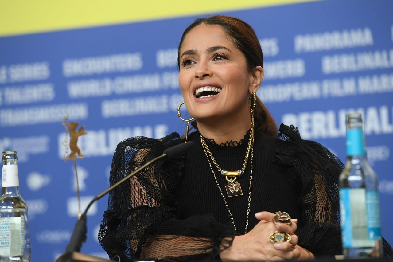 """Salma Hayek during the """"The Roads Not Taken"""" press conference during the 70th Berlinale International Film Festival Berlin at Grand Hyatt Hotel on February 26, 2020 in Berlin, Germany. 