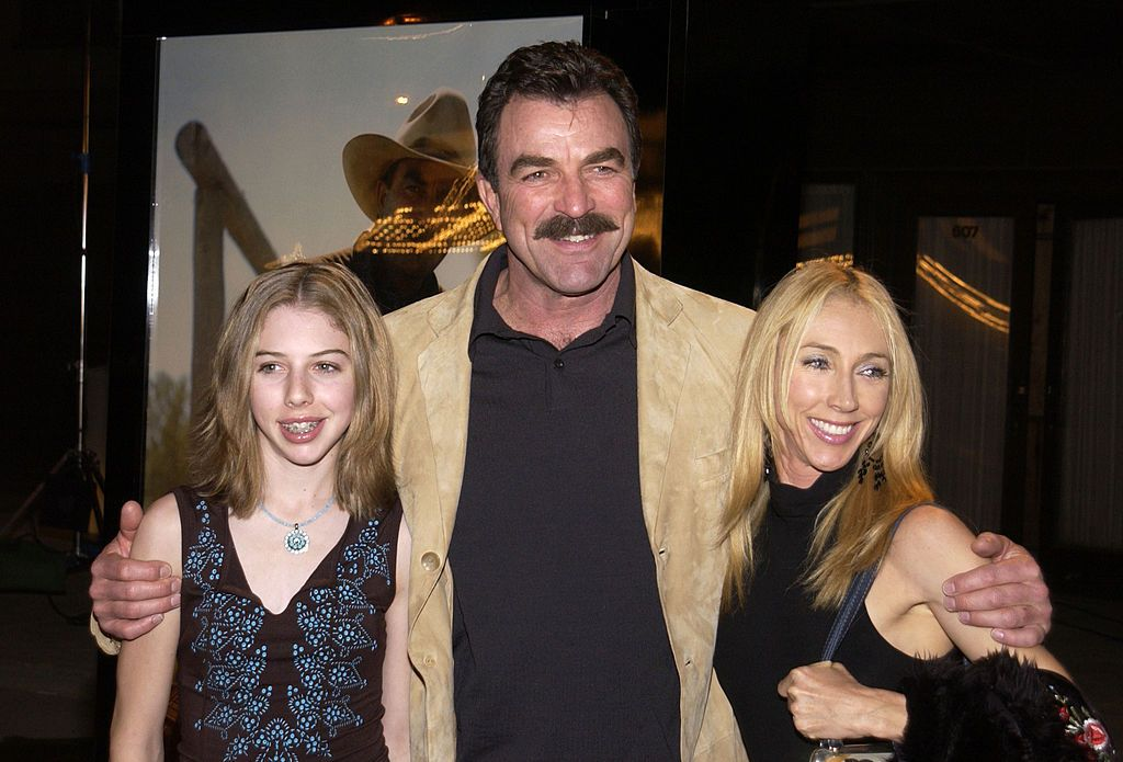 "Tom Selleck, wife Jillie Mack and daughter Hannah, during TNT's ""Monte Walsh"" premiere, Los Angeles. 
