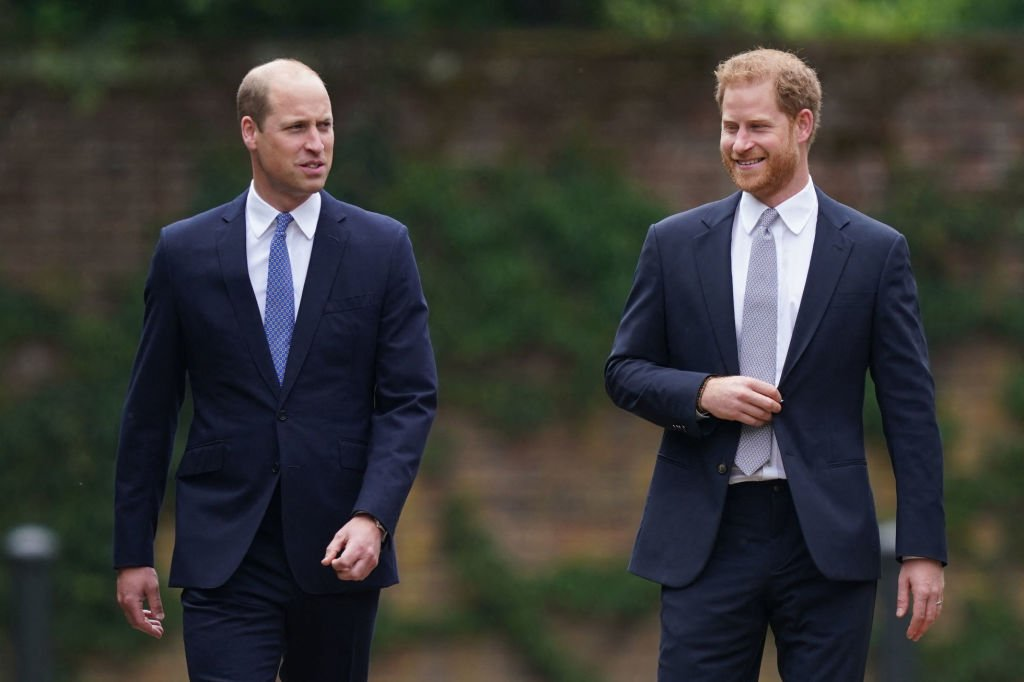 Prince William and Prince Harry at the unveiling of a statue of their mother, Princess Diana at The Sunken Garden in Kensington Palace, London on July 1, 2021 | Photo: Getty Images