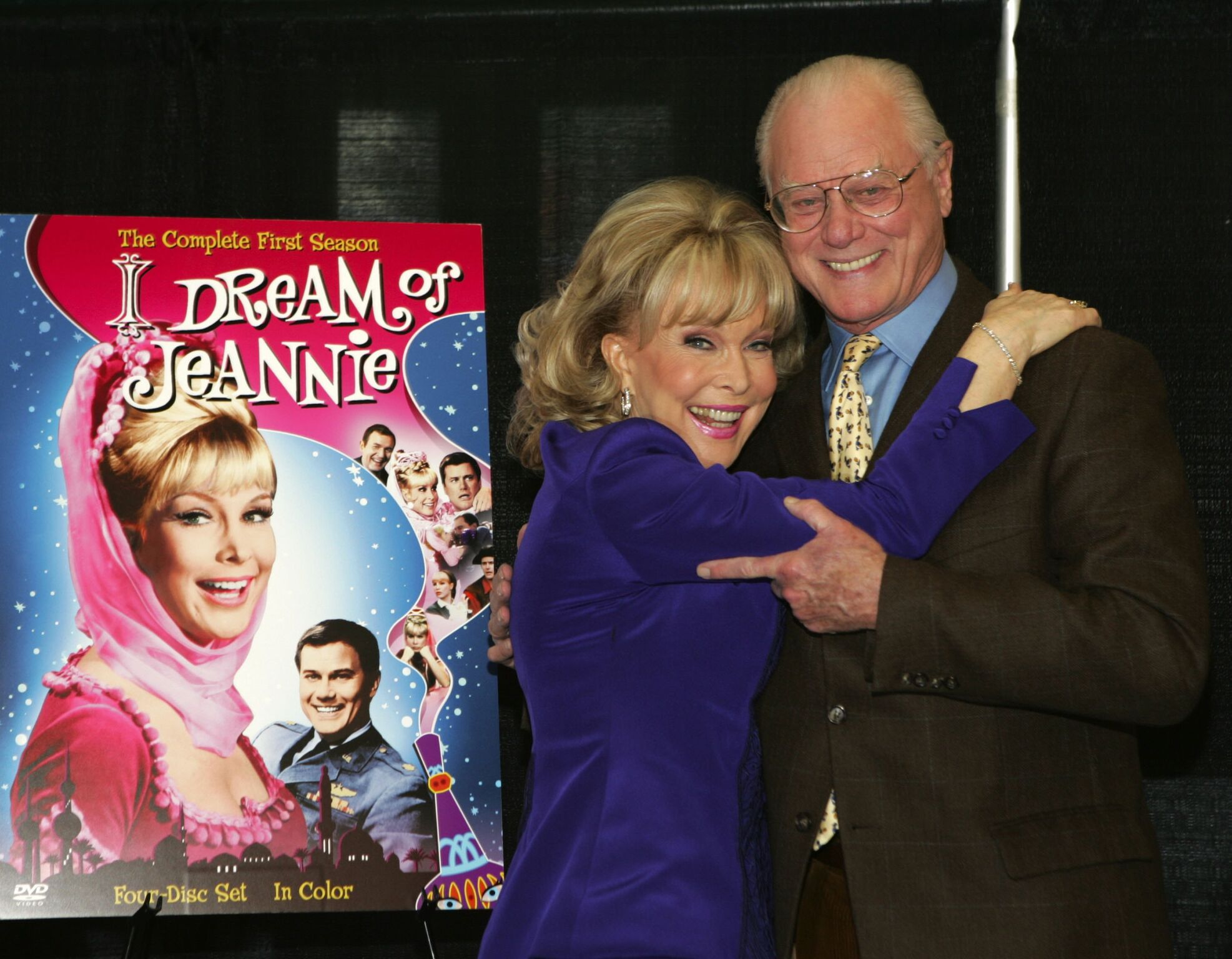 "Larry Hagman and Barbara Eden attend the ""I Dream of Jeannie"" DVD Launch at Barnes & Noble Bookstore 