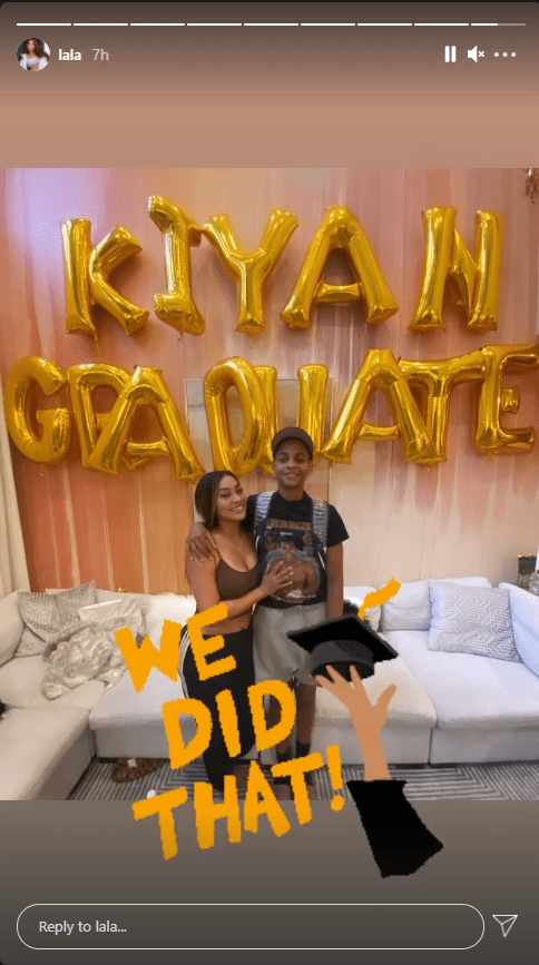 La La Anthony takes a picture with her son Kiyan in tribute to his graduation. | Photo: Instagram/Lala