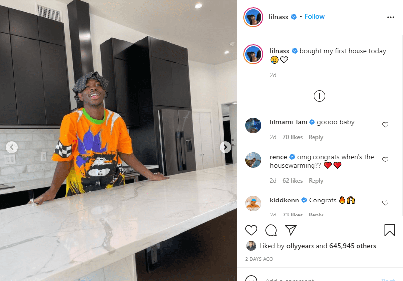Lil Nas X poses in the kitchen of his new apartment  | Source: Instagram.com/lilnasx