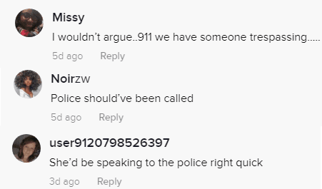 TikTok users believe that the police should have been called | Photo: Tiktok.com/@hopey.pie