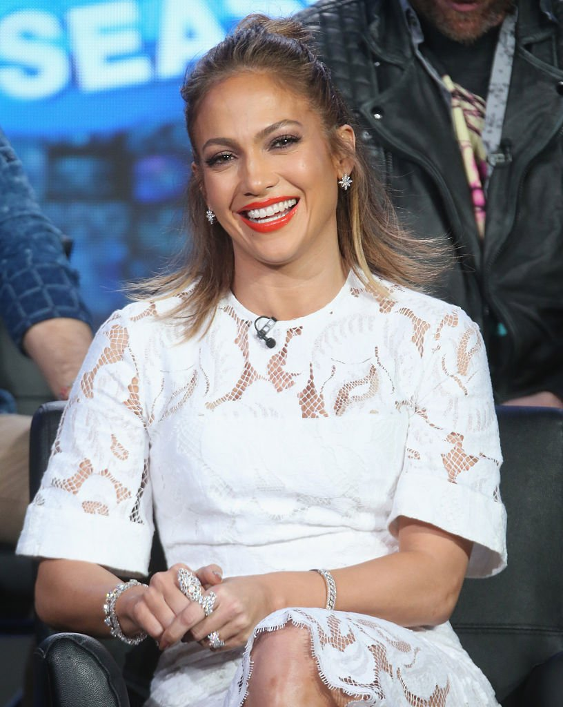 """Jennifer Lopez speaks onstage during the """"American Idol"""" panel discussion at the Langham Huntington Hotel on January 15, 2016 in Pasadena, California 