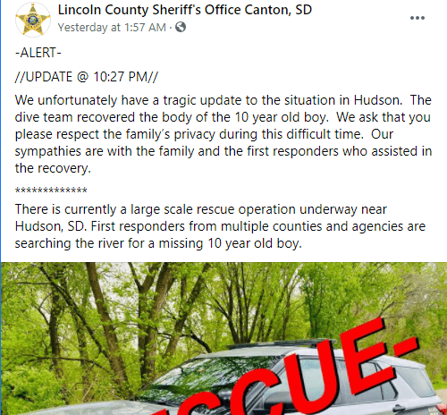 The Lincoln County Sheriff's Office Canton updates on the rescue mission for Ricky Lee Sneve on June 13, 2021   Photo: Facebook/@lincosheriffsd