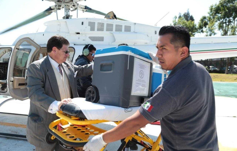 Algunos de los órganos fueron transportados en helicóptero. Fuente: Twitter/AztecaNoticias
