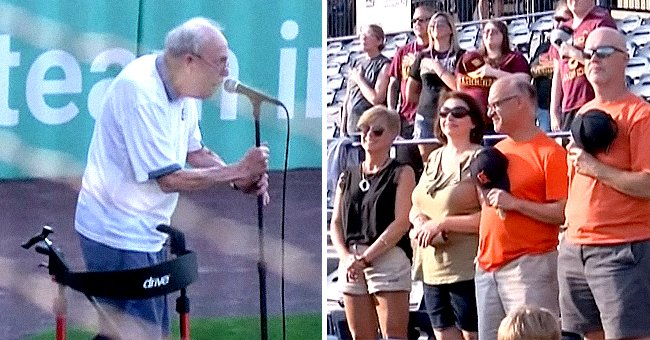 An elderly veteran holds the mic as he delivers the national anthem and moves the spectators with his heartfelt rendition  | Photo: Facebook/wmwcaps