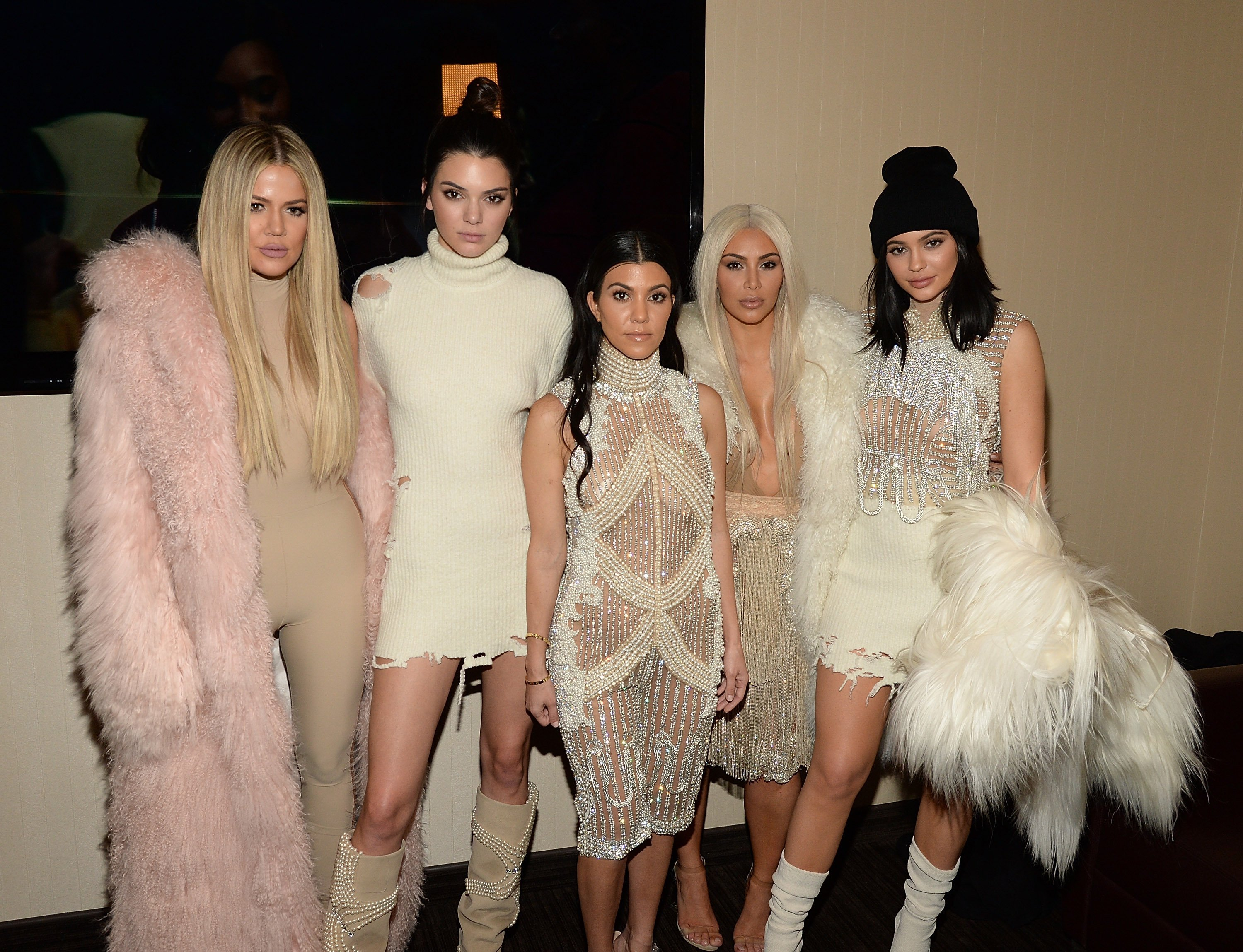 Khloe Kardashian, Kendall Jenner, Kourtney Kardashian, Kim Kardashian West and Kylie Jenner attend Kanye West Yeezy Season 3 at Madison Square Garden on February 11, 2016, in New York City. | Source: Getty Images.