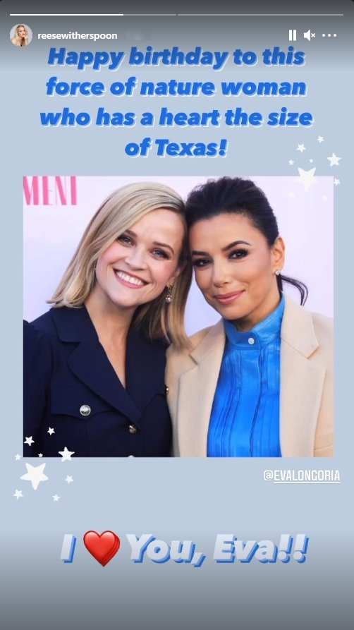 Resse Witherspoon wishing Eva Longoria a happy birthday alongside a throwback picture | Photo: Instagram / reesewitherspoon
