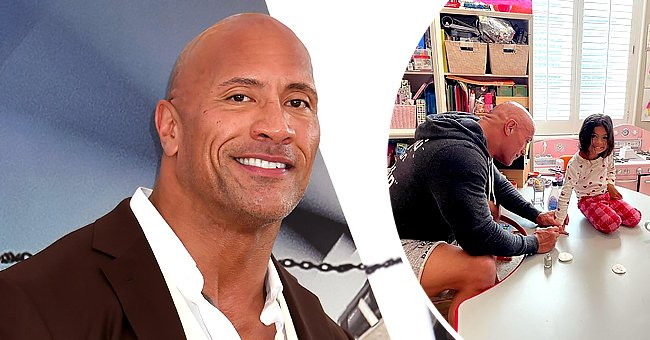 Dwayne Johnson painting his daughter Tia's nails   Photo: Getty Images   Instagram.com/therock/