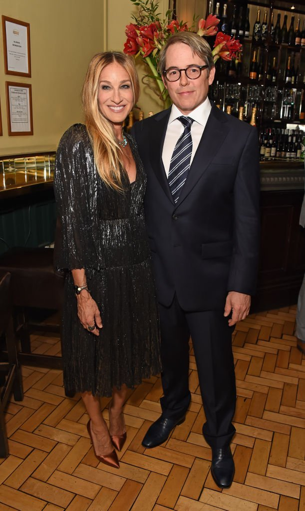 """Sarah Jessica Parker (L) and Matthew Broderick attend the press night after party for """"The Starry Messenger"""" at Browns 