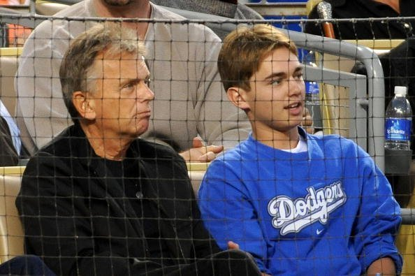 Pat Sajak and son Patrick  at Dodger Stadium in Los Angeles, California in 2018 | Image: Getty Images.