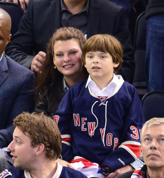 Linda Evangelista and her son Augustin James Evangelista at Madison Square Garden on May 29, 2014 in New York City.   Photo: Getty Images