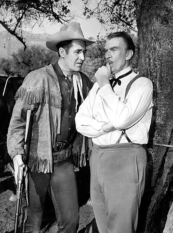 """Sheb Wooley and guest star on """"Rawhide"""" Walter Pidgeon in 1962. 