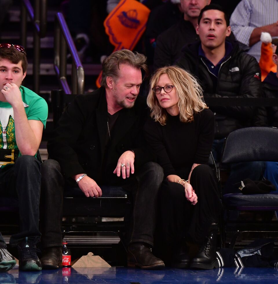 John Mellencamp and Meg Ryan attend the New York Knicks Vs Philadelphia 76ers game. | Source: Getty Images