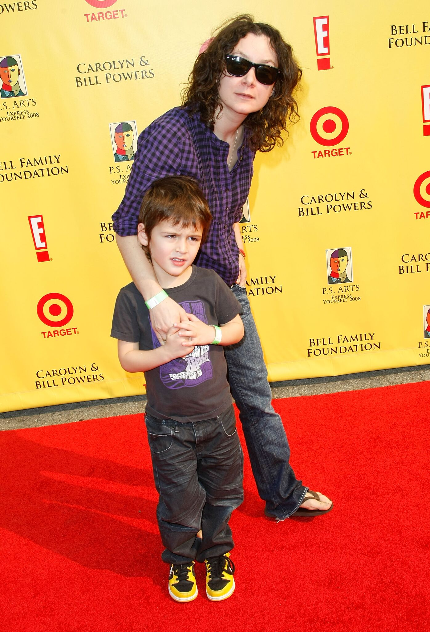 """Sara Gilbert and son Levi Hank Gilbert-Adler arrives at the P.S. Arts """"Express Yourself 2008"""" at Barker Hanger 