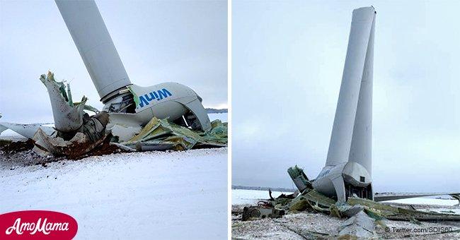 Accident rare dans l'Oise: les photos d'une éolienne cassée en deux à Campeaux