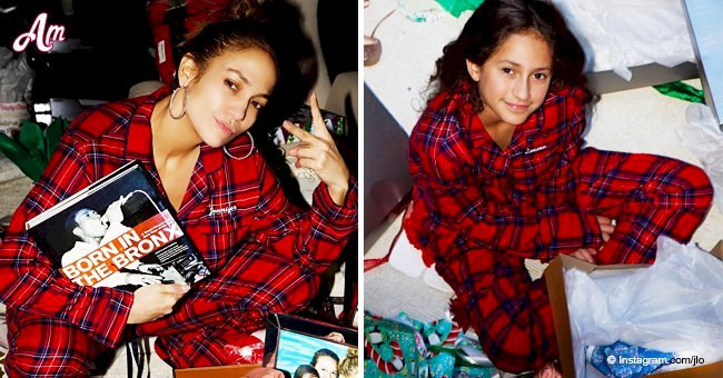 J.Lo smiles with her mini-me daughter in plaid pajamas, and their resemblance is undeniable