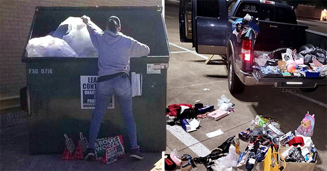 A woman digs through a dumpster and shows viewers her truck which is filled with the items she has found   Photo: Instagram/dumpsterdivingmama