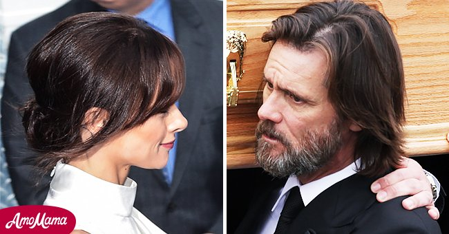 Cathriona White and Jim Carrey carrying her casket during her funeral in October 2015   Photo: Getty Images