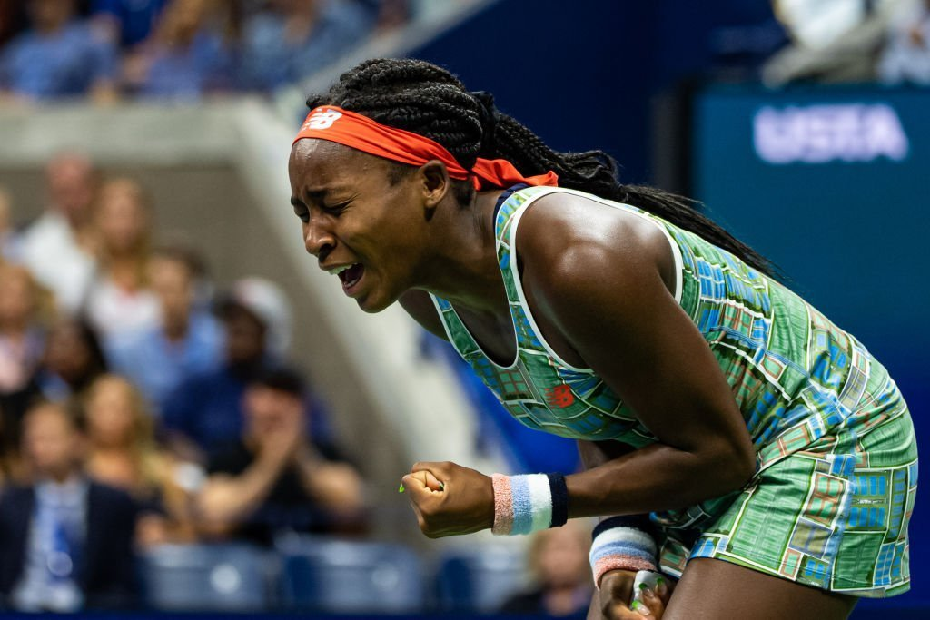 Coco Gauff gets emotional during her match with Naomi Osaka at the 2019 US Open in August. | Photo: Getty Images