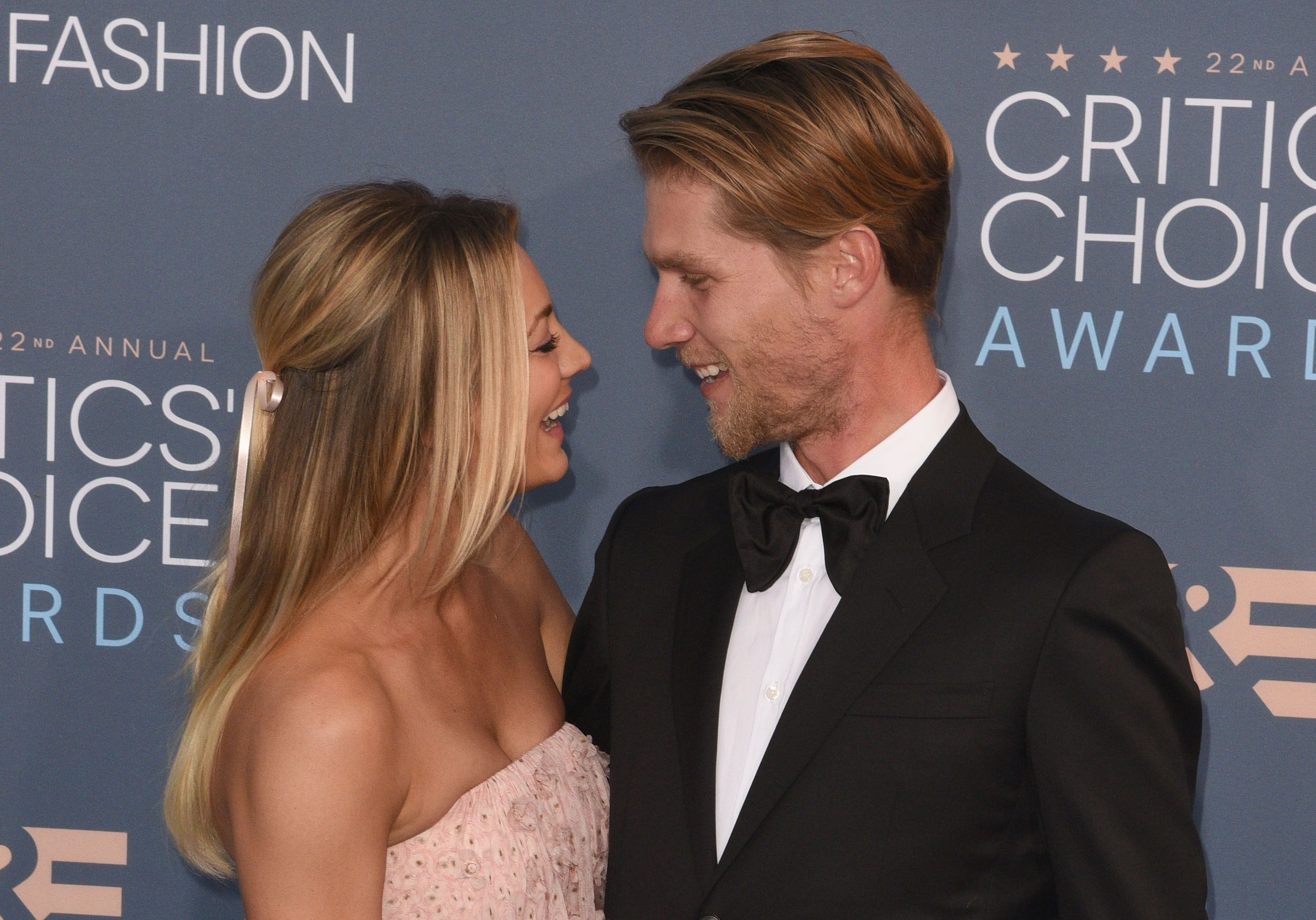 Kaley Cuoco and Karl Cook at The 22nd Annual Critics' Choice Awards at Barker Hangar in Santa Monica, California   Photo: Gregg DeGuire/WireImage via Getty Images