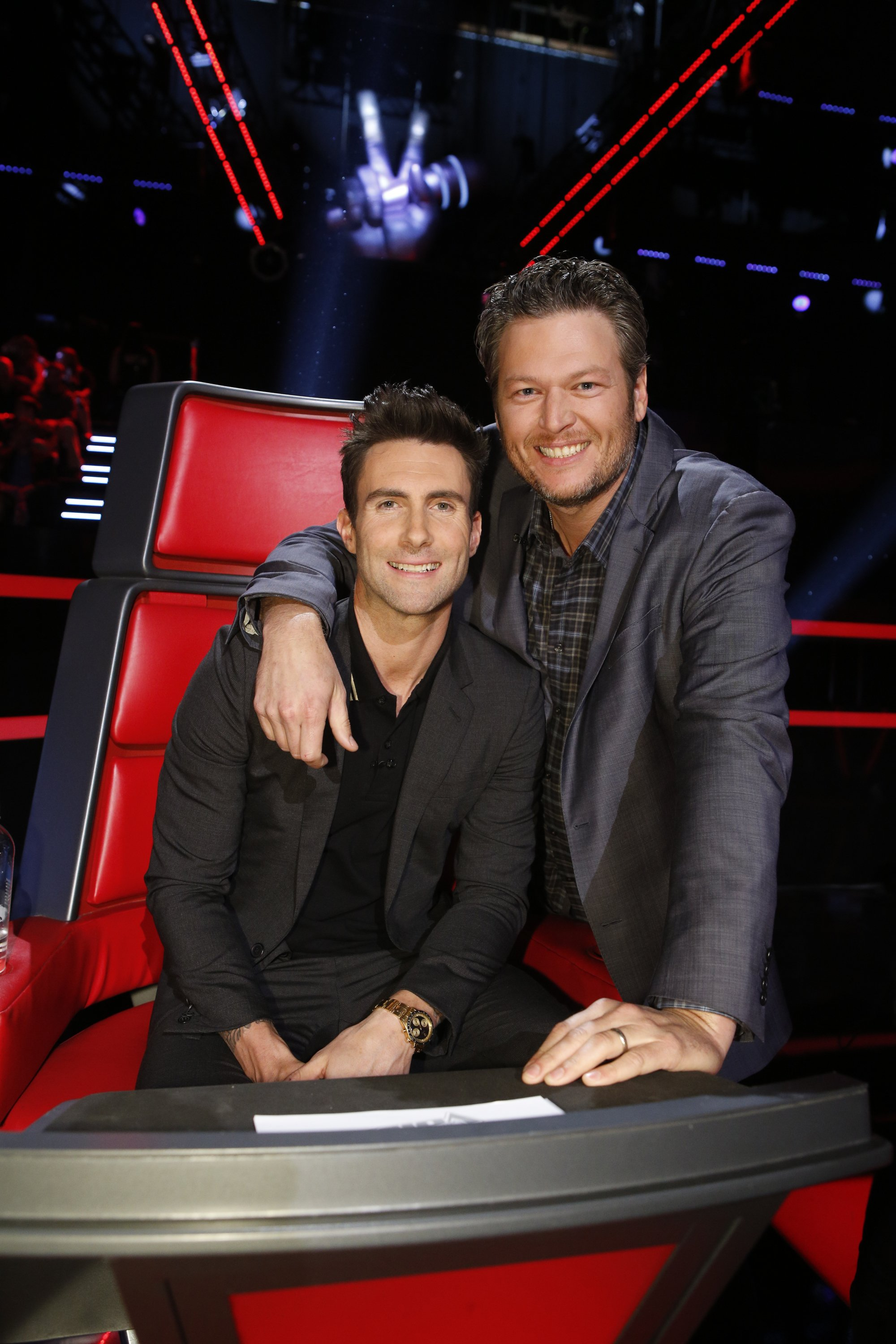 """Coaches Adam Levine and Blake Shelton on season 7 of """"The Voice."""" 