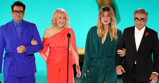 Dan Levy, Catherine O'Hara, Annie Murphy, and Eugene Levy presenting at the 73rd Emmy Awards, 2021. | Photo: Getty Images
