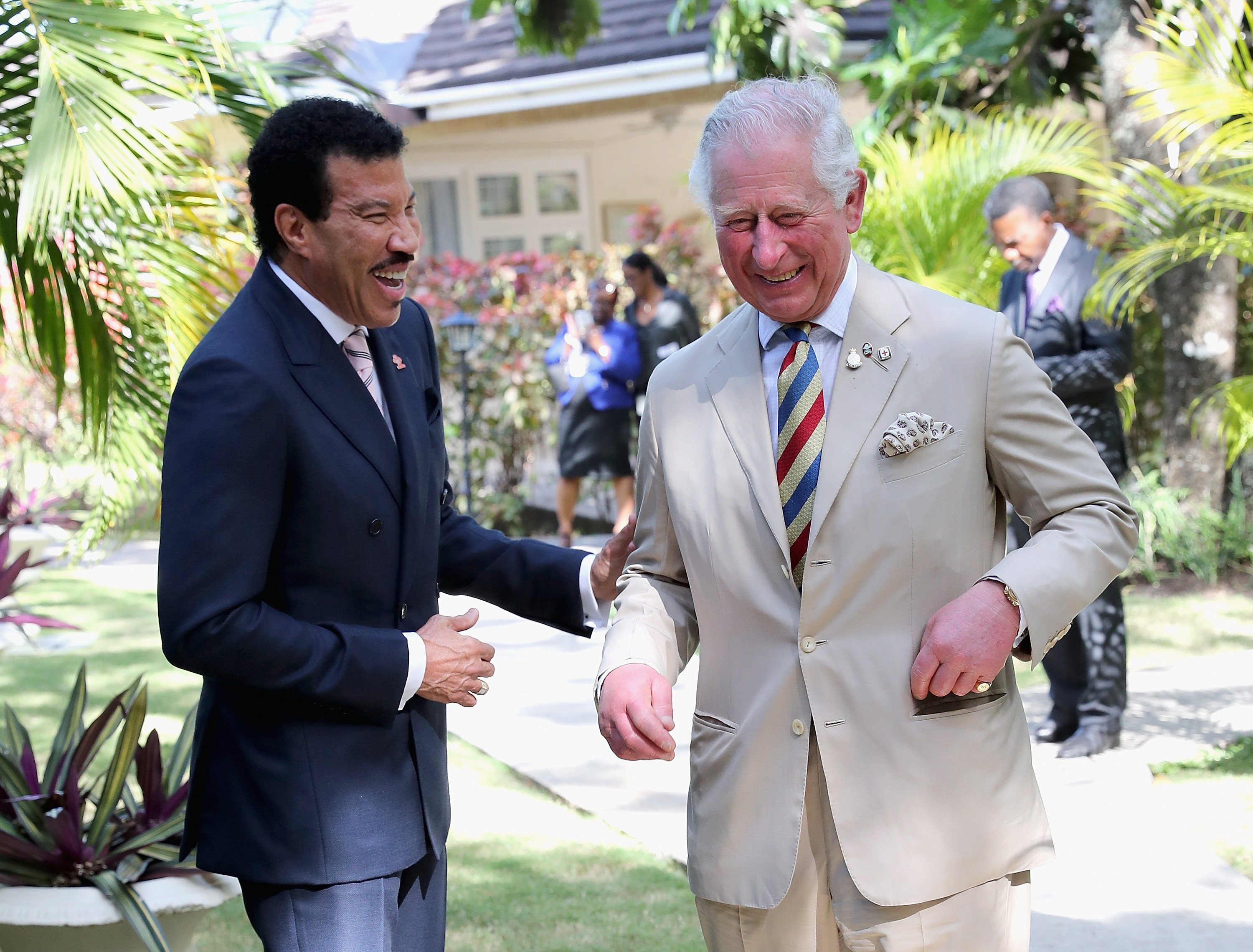Lionel Richie and Prince Charles, Prince of Wales attend a Prince's Trust International Reception at the Coral Reef Club Hotel on March 19, 2019 in Folkestone, Barbados.