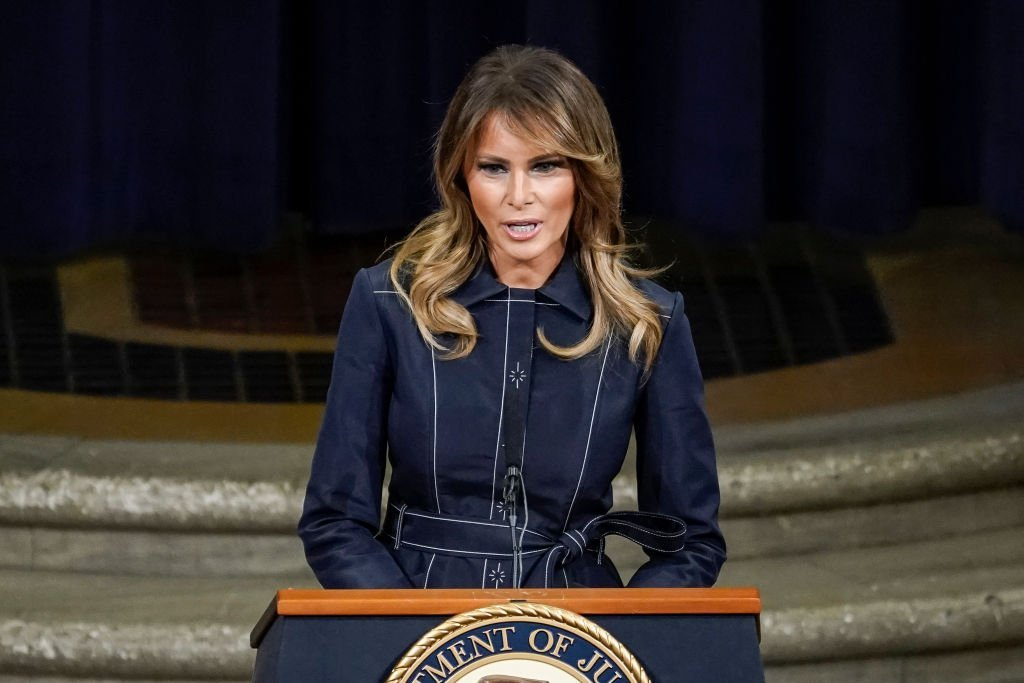 First Lady Melania Trump speaks at the National Opioid Summit at the U.S. Department of Justice on March 6, 2020 | Photo: Getty Images