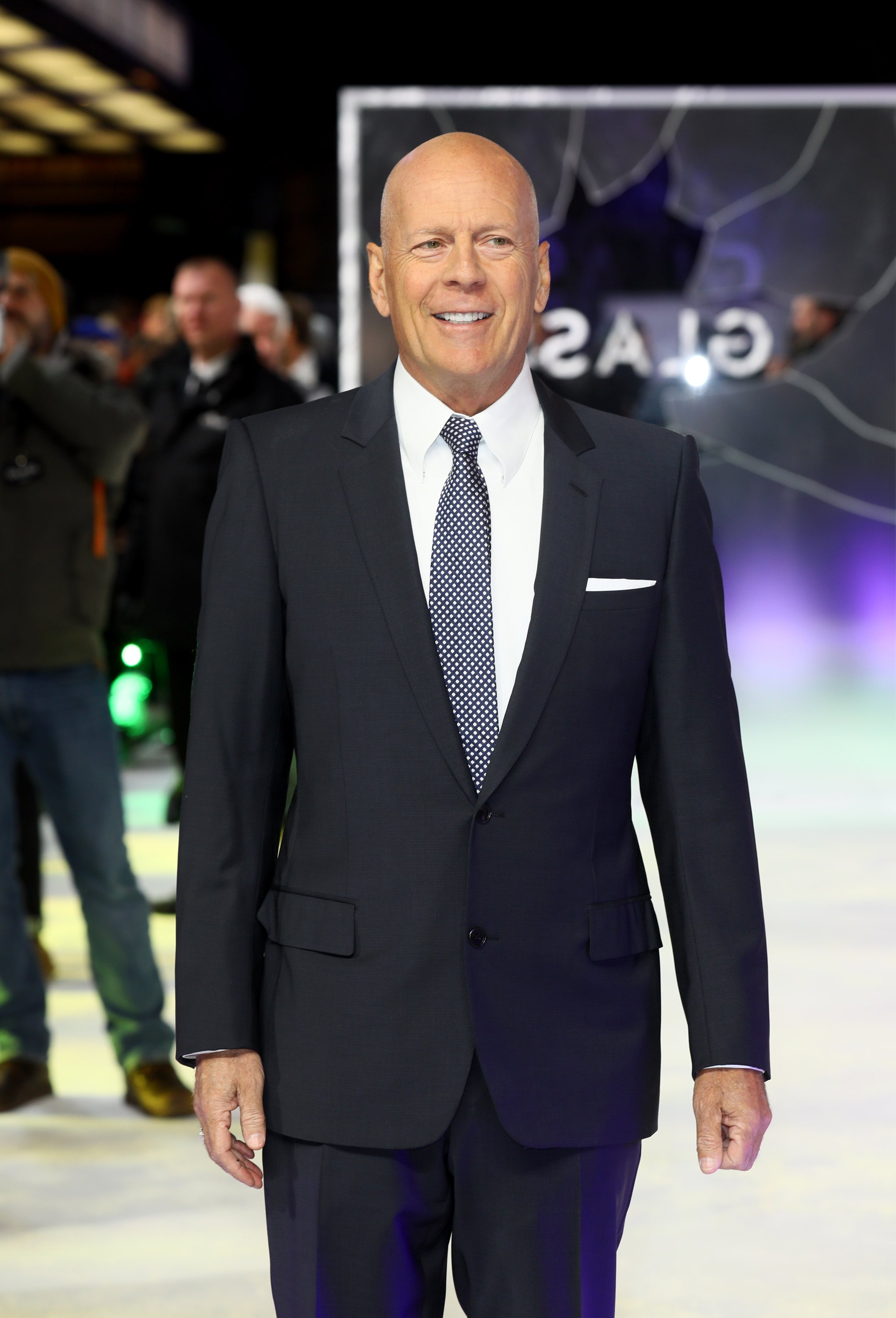 """Bruce Willis attends the UK Premiere of M. Night Shyamalan's all-new comic-book thriller """"Glass"""" at Curzon Cinema Mayfair on January 9, 2019, in London, England. 