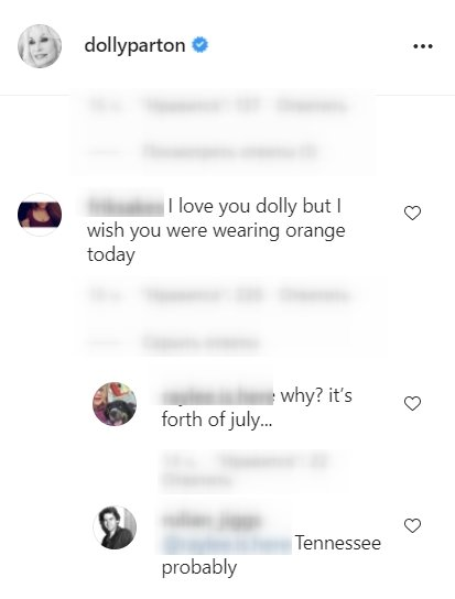 A screenshot of fans' comment on Dolly Parton's Instagram post   Photo: instagram.com/dollyparton